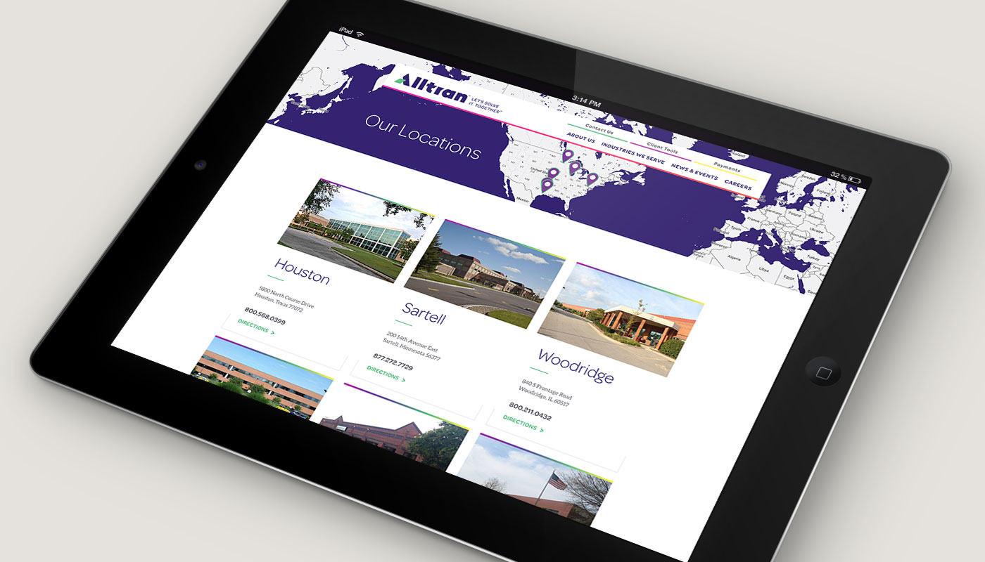 Alltran 'Our Locations' webpage on iPad