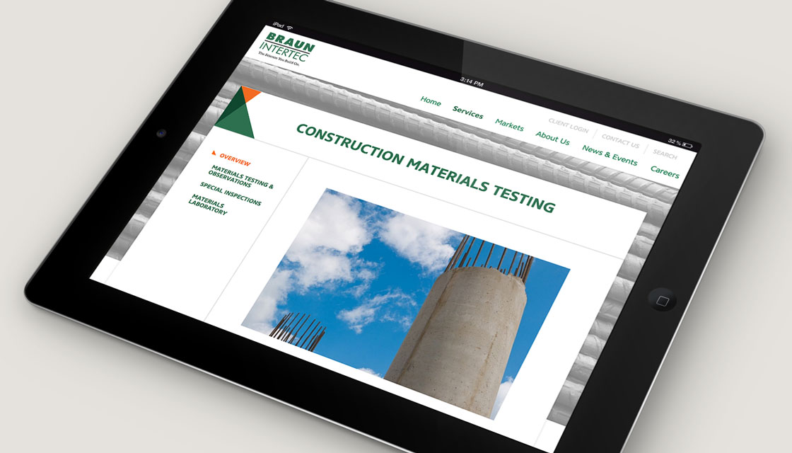 Braun Intertec 'Construction Materials Testing' webpage on iPad